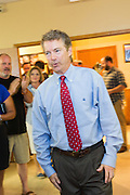 Senator and GOP presidential candidate Rand Paul greets supporters at the Veterans of Foreign Wars post June 15, 2015 in Lexington, South Carolina. Paul told the crowd that the country is suffering from Bush-Clinton fatigue.