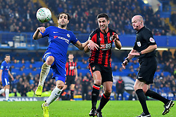 December 20, 2017 - London, Greater London, United Kingdom - Chelsea Midfielder Cesc Fabregas controls from Bournemouth's Andrew Surman during the Carabao Cup Quarter - Final match between Chelsea and AFC Bournemouth at Stamford Bridge, London, England on 20 Dec 2017. (Credit Image: © Kieran Galvin/NurPhoto via ZUMA Press)