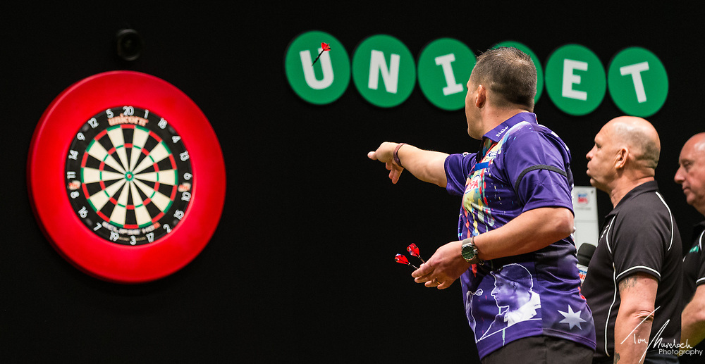MELBOURNE, Australia - Friday 18 August 2017 : David Platt during the Unibet Melbourne Dart Masters at Hisense Arena on Friday 18 August 2017.<br /> <br /> <br /> Photo Credit: Tim Murdoch/Tim Murdoch Photography