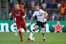 May 2, 2018 - Rome, Lazio, Italy - AS Roma v FC Liverpool - Champions League semi-final second leg.Radja Nainggolan of Roma and Jordan Henderson of Liverpool at Olimpico Stadium in Rome, Italy on May 02, 2018. (Credit Image: © Matteo Ciambelli/NurPhoto via ZUMA Press)
