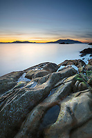 Twilight at Wildcat Cove, looking out to Samish Bay and the San Juan Islands, Larrabee State Park Washington