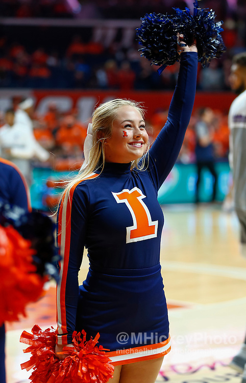 CHAMPAIGN, IL - FEBRUARY 21: An Illinois Fighting Illini cheerleader is seen during the game against the Northwestern Wildcats at State Farm Center on February 21, 2017 in Champaign, Illinois.  (Photo by Michael Hickey/Getty Images)