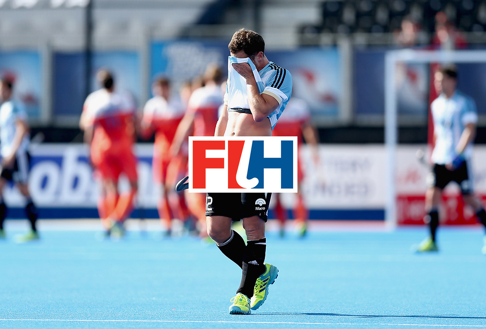 LONDON, ENGLAND - JUNE 25: Lucas Vila of Argentina looks dejected during the final match between Argentina and the Netherlands on day nine of the Hero Hockey World League Semi-Final at Lee Valley Hockey and Tennis Centre on June 25, 2017 in London, England. (Photo by Alex Morton/Getty Images)