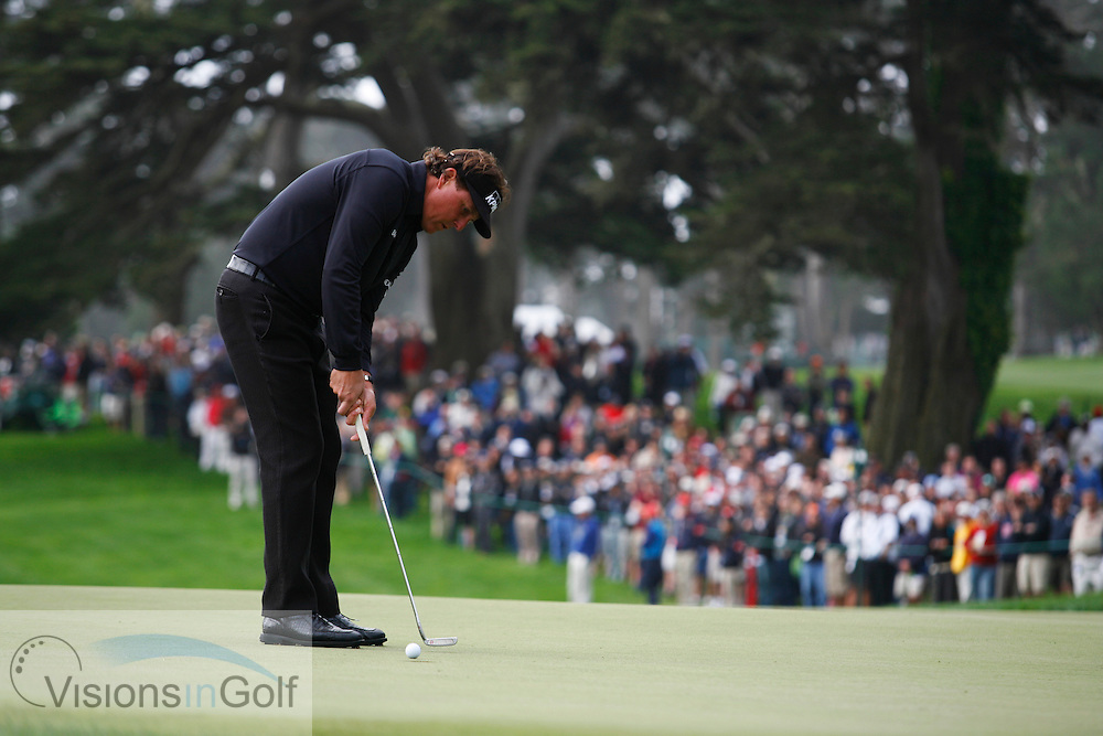 Phil Mickelson putting<br /> at the US Open 2012, The Olympic Club, San Francisco California USA, 140612<br /> Picture Credit: Bob Straus  / www.visionsingolf.com