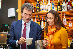 © Licensed to London News Pictures. 21/11/2019. London, UK. Liberal Democrat Shadow Brexit Secretary, TOM BRAKE makes a cup of coffee as he and London Mayoral candidate, SIOBHAN BENITA visitKaramel Cafe - a creative regeneration charity in Hornsey and WoodGreen, north London. Photo credit: Dinendra Haria/LNP