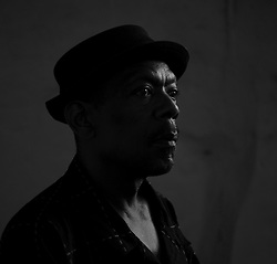 WASHINGTON, D.C., MAY 30, 2014: Bass player Magic (William Lavender Bay) poses for a portrait photograph.
