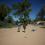 January 21, 2013 - Diabaly, Mali: Mali army men patrol a military base in central Diabaly, a day after Mali government troops regain control of the city. Diabaly was under islamist militants control since the 14th of January.<br />