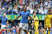 Portsmouth Midfielder, Jamal Lowe (10) scores a goal to make it 3-0 and celebrates during the EFL Sky Bet League 1 match between Portsmouth and Oxford United at Fratton Park, Portsmouth, England on 18 August 2018.