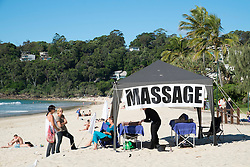 Massage tent on beach at Noosa on Sunshine Coast in Queensland Australia