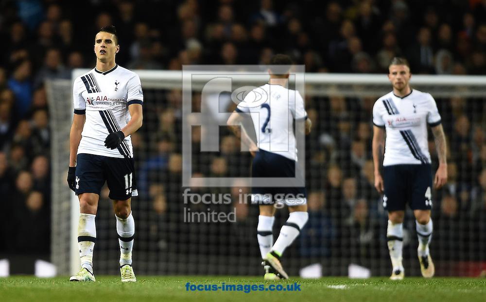 Tottenham Hotspur's Erik Lamela reacts after West Bromwich Albion score the equaliser during the Barclays Premier League match at White Hart Lane, London<br /> Picture by Daniel Hambury/Focus Images Ltd +44 7813 022858<br /> 25/04/2016