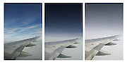A triptych image showing the Wing of a Boeing 757-200 in flight.