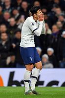 Football - 2019 / 2020 Premier League - Tottenham Hotspur vs. Chelsea<br /> <br /> Tottenham Hotspur's Son Heung-Min dismissed by Referee Anthony Taylor, at The Tottenham Hotspur Stadium.<br /> <br /> COLORSPORT/ASHLEY WESTERN