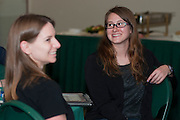 Meryl Diane Weaver, an Ohio University Graduate student studying Mathematics, reacts to Tim Vickers statements about why she received a 2013 Graduate Associate Outstanding Teaching Award, Thursday, April 18, 2013. The awards ceremony was held in the Faculty Commons on the third floor of Alden Library.