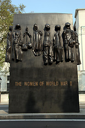 21 April 2011. London, England..The women of WW2 memorial along Whitehall, part of the Royal wedding route where the procession will pass through en route to Buckingham Palace in the run up to Catherine Middleton's marriage to Prince William..Photo; Charlie Varley.