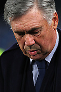 Head coach of Napoli Carlo Ancelotti on the bench during the UEFA Champions League, Group E football match between SSC Napoli and KRC Genk on December 10, 2019 at Stadio San Paolo in Naples, Italy - Photo Federico Proietti / ProSportsImages / DPPI
