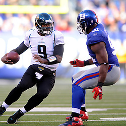 Quarterback David Garrard #9 of the Jacksonville Jaguars scrambles from the pocket during NFL football action between the New York Giants and Jacksonville Jaguars on Nov. 28, 2010 at MetLife Stadium in East Rutherford, N.J.