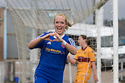 06/10/2017 - Forfar Farmington v Motherwell Ladies in SWPL2 at Station Park, Forfar: Julie Scott celebrates after scoring the fourth goal as Forfar Farmington beat closest rivals Motherwell Ladies 5-1 to clinch promotion and the SWPL2 championship