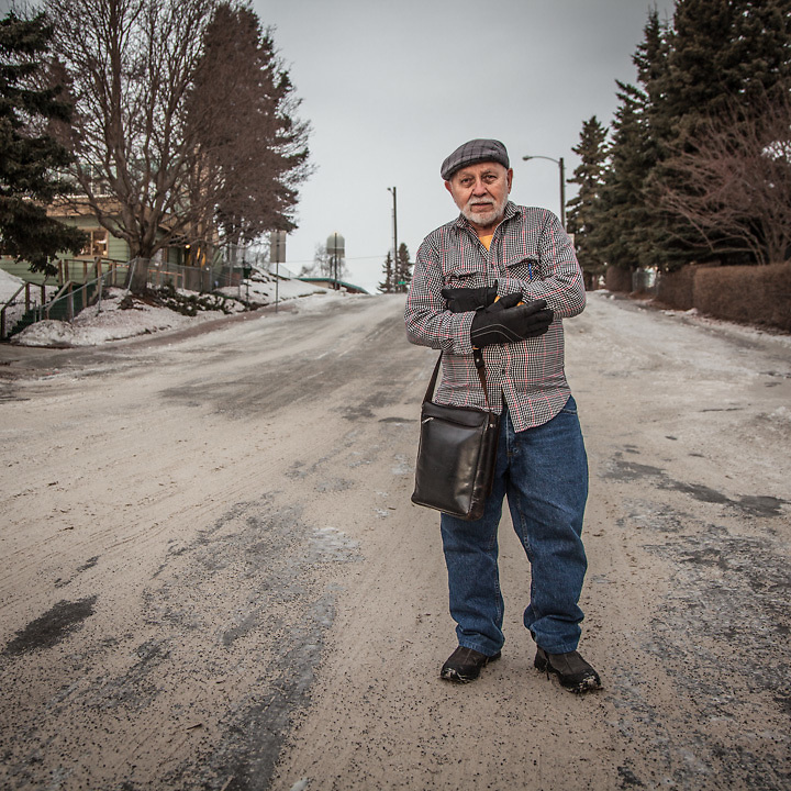 "Architect Ivan Becerra in Anchorage's South Addition neighborhood.  ""Where did you get your glasses?""  ""I just broke mine and I have been looking for new frames exactly like your's!"""