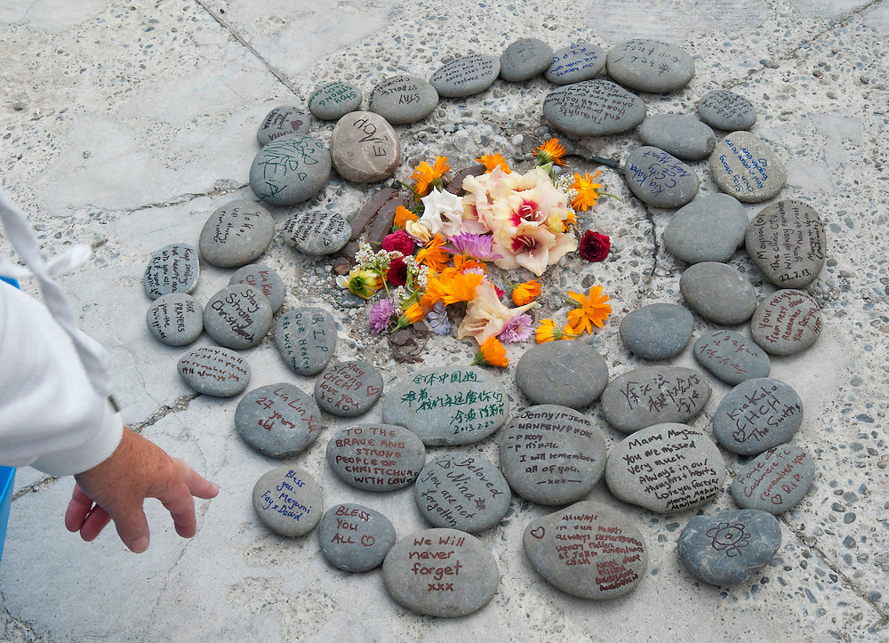 Messages on stones placed by visitors to the CTV building site after the service to commemorate the second anniversary of the February earthquake,  Christchurch, New Zealand, Friday, February 22, 2013. Credit:  SNPA/ David Alexander.
