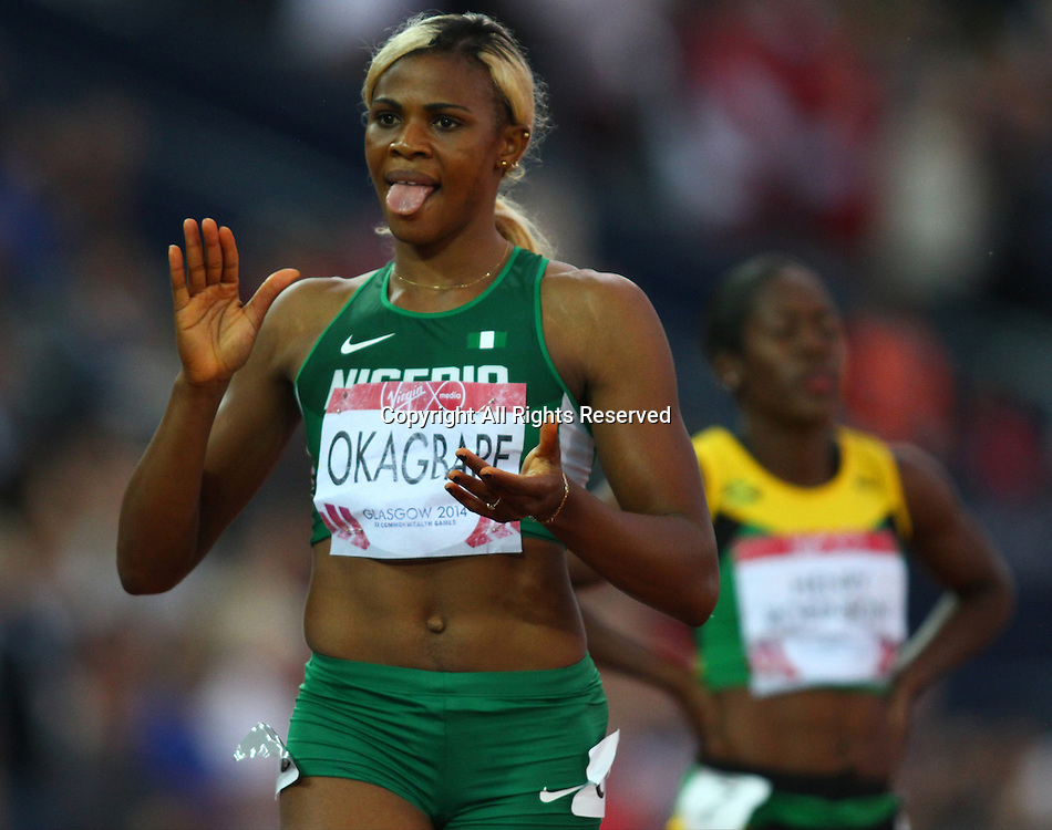 31.07.2014. Glasgow, Scotland. Glasgow Commonwealth Games. Women's 200m final from Hampden Park. Blessing Okagbare crosses the line to win gold for Nigeria