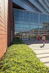 United States, Washington, Bellevue, boys on steps of Bellevue City Hall
