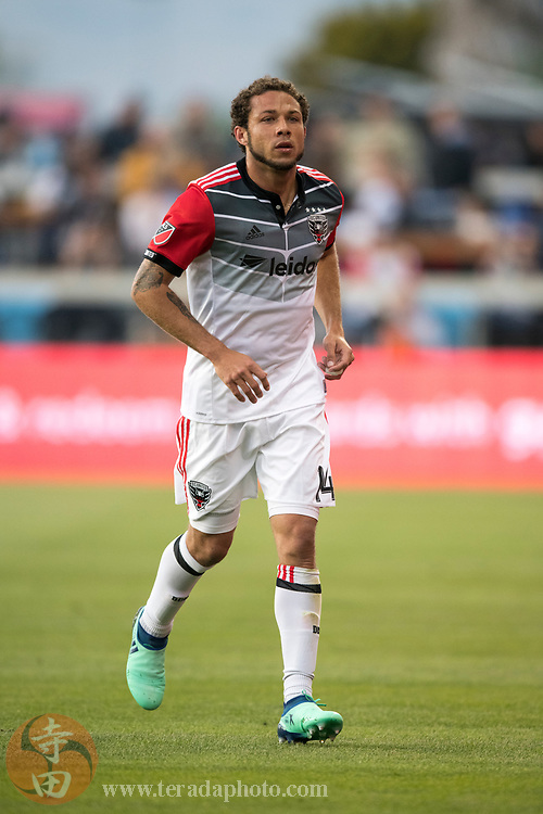 May 19, 2018; San Jose, CA, USA; D.C. United midfielder Nick DeLeon (14) during the first half against the San Jose Earthquakes at Avaya Stadium.