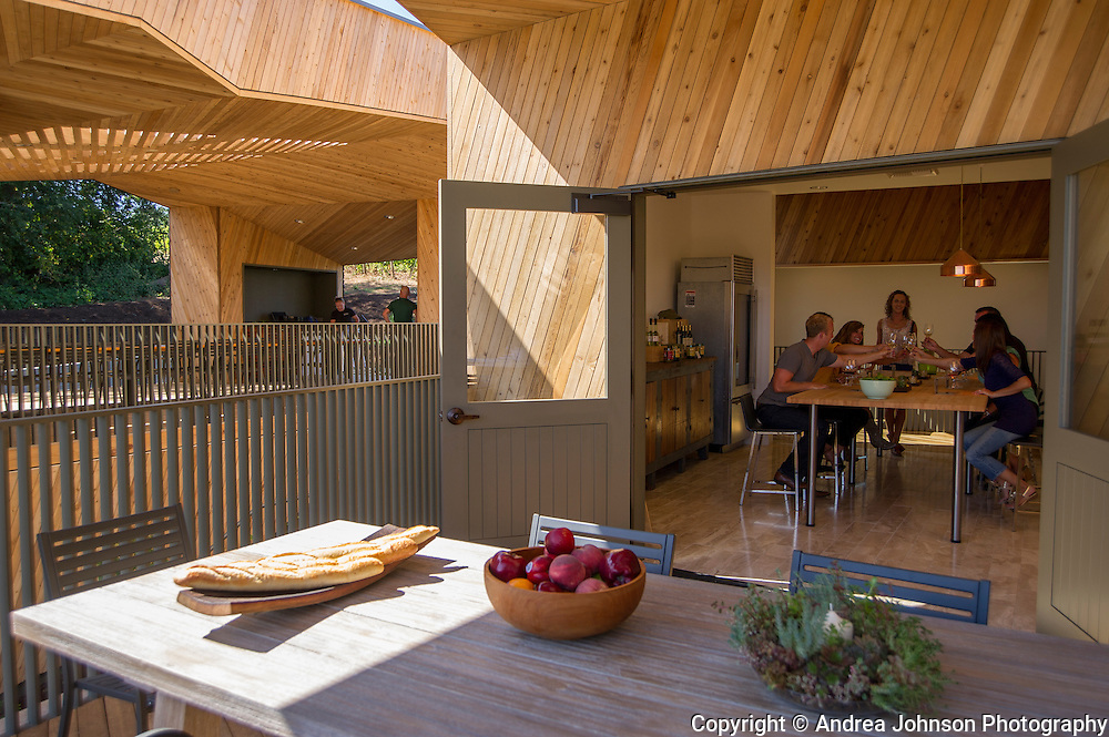 Sokol Blosser's The Kitchen wine+food pairing in new tasting room, Dundee Hills, Willamette Valley, Oregon