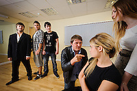"""Selected cast members of the stage play """"Stags & Hens' seen here in rehearsal. Pictured LtoR Tim Bettridge, Kurt Tobin, Seb Pryboda, Andy Wilson, Madison Coupland, Emily Potter"""