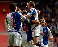 Photo: Jed Wee.<br />Sunderland v Blackburn Rovers. The Barclays Premiership. 25/03/2006.<br /><br />Blackburn's Craig Bellamy (R) joins to the celebrations.