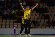 Craig Overton of Somerset celebrates taking the final wicket to dismiss Hampshire for 91 during the NatWest T20 Blast South Group match between Hampshire County Cricket Club and Somerset County Cricket Club at the Ageas Bowl, Southampton, United Kingdom on 18 August 2017. Photo by Dave Vokes.