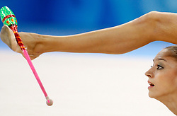Russia's Evgeniya Kanaeva perfroms with the clubs during the individual all-around finals for rhythmic gymnastics during the Olympic games in Beijing, China, 23 August 2008. Kanaeva won the gold for the event.