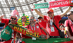 MOSCOW, June 20, 2018  Fans of Portugal cheer prior to a Group B match between Portugal and Morocco at the 2018 FIFA World Cup in Moscow, Russia, June 20, 2018. (Credit Image: © Cao Can/Xinhua via ZUMA Wire)