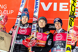 14.03.2019, Granasen, Trondheim, NOR, FIS Weltcup Skisprung, Raw Air, Trondheim, Einzelbewerb, Herren, Siegerehrung, im Bild 2. Platz Andreas Stjernen (NOR), Sieger Ryoyu Kobayashi (JPN), 3. Platz Stefan Kraft (AUT) // 2nd placed Andreas Stjernen of Norway Winner Ryoyu Kobayashi of Japan 3rd placed Stefan Kraft of Austria during the winner ceremony for the men's individual competition of the 3rd Stage of the Raw Air Series of FIS Ski Jumping World Cup at the Granasen in Trondheim, Norway on 2019/03/14. EXPA Pictures © 2019, PhotoCredit: EXPA/ JFK