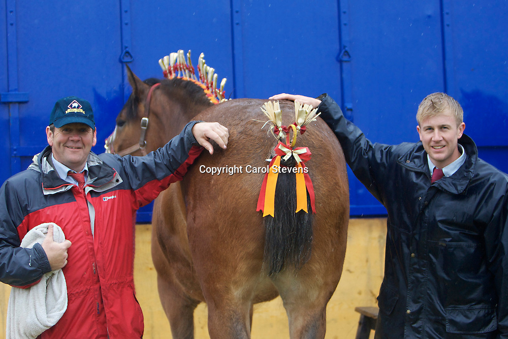 Richard and Robert Bedford  (Hartcliff Shires) with Hartcliff Rihanna<br /> Best 2 year old and Junior Champion