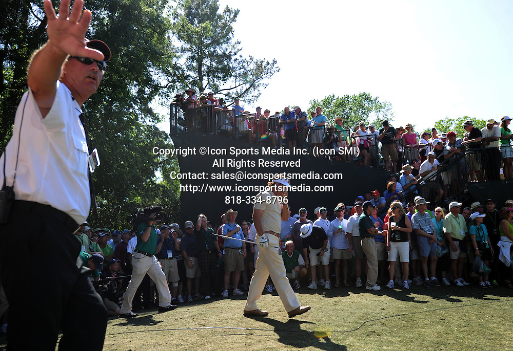 April 8, 2012 - Augusta, Georgia, U.S. - Phil Mickelson walks back to the fourth hole after hitting from the woods during Sunday's final round of the 2012 Masters Tournament at Augusta National Golf Club on April 8, 2012, in Augusta, Ga.