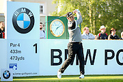golf professional Mark Foster teeing off on the 1st during the BMW PGA Championship at the Wentworth Club, Virginia Water, United Kingdom on 26 May 2016. Photo by Simon Davies.