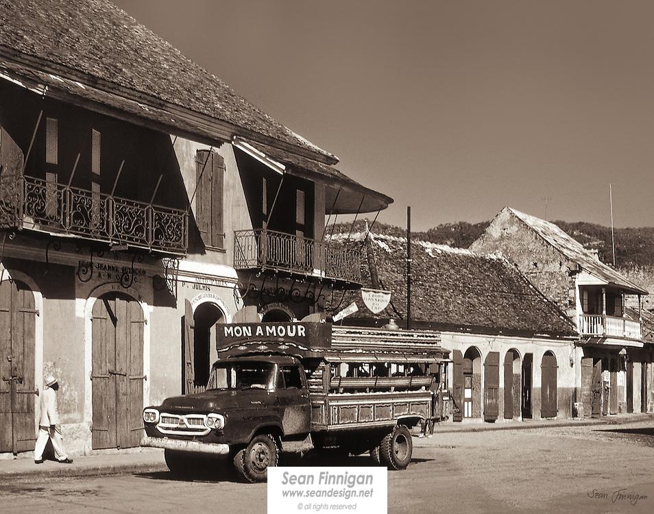 Mon Amour bus in the main street of Cap Haitian