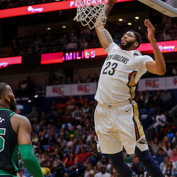 Mar 18, 2018; New Orleans, LA, USA; New Orleans Pelicans forward Anthony Davis (23) dunks against the Boston Celtics during the first quarter at the Smoothie King Center. Mandatory Credit: Derick E. Hingle-USA TODAY Sports