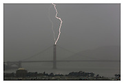 Lightning strikes over the south tower of the Golden Gate Bridge on November 9th, 2015 in San Francisco,CA. (Charles Hall/AP)