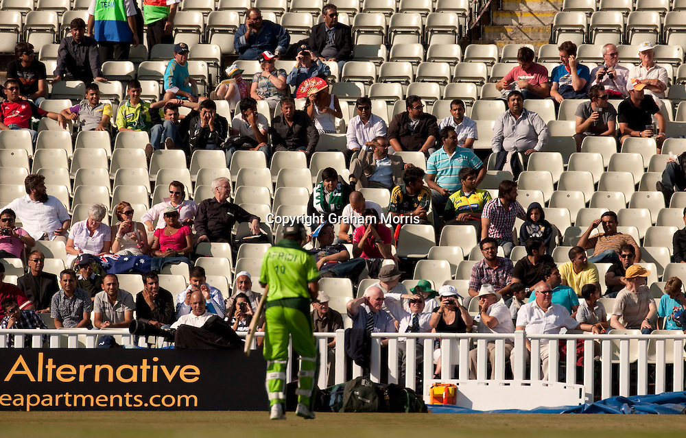 The stunned crowd as Shahid Afridi is lbw Steve Smith for nought during the first International T20 match between Australia and Pakistan at Edgbaston, Birmingham.  Photo: Graham Morris (Tel: +44(0)20 8969 4192 Email: sales@cricketpix.com) 05/07/10