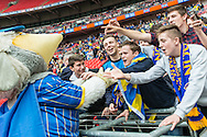 AFC Wimbledon fans with the club mascot prior to the Sky Bet League 2 Play-off Final at Wembley Stadium, London<br /> Picture by Matt Wilkinson/Focus Images Ltd 07814 960751<br /> 30/05/2016