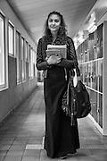 Aila, Finnish Kaale Roma girl, in a corridor in her school in Sweden