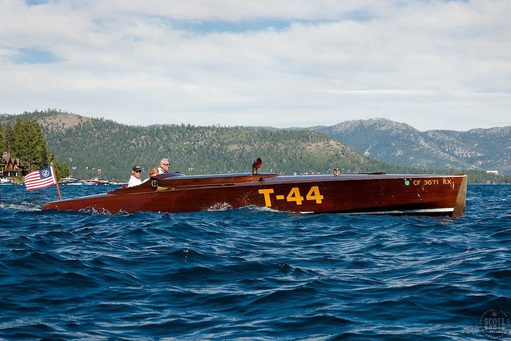 """T-44/Wildhorses on Lake Tahoe"" - Photograph of the classic wooden boat T-44 / Wildhorses on Lake Tahoe during the 2011 Concours d'Elegance."