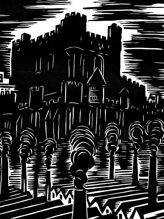A black / white drawing of a castle surrounded by a factory