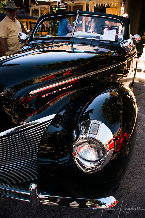 Automotive details, seen at the Carmel-by-the-Sea Concours on the Avenue event during Monterey Car Week