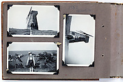 photo album page with child posing by windmill Brighton 1952