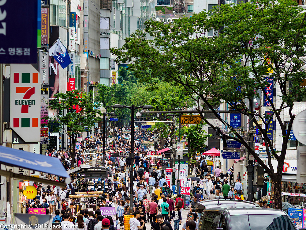 10 JUNE 2018 - SEOUL, SOUTH KOREA: Myeong-dong Street, a busy shopping street in Seoul.    PHOTO BY JACK KURTZ