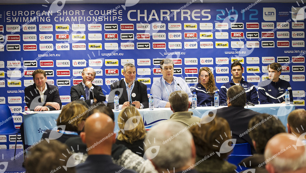 Press Conference .from left to right Louis Frederic Doyez (general director French Federation and Organising Committee), Jean Pierre Gorges (mayor of Chartres), David Sparkes (Len General Secretary), Camille Muffat, Florent Manaudou, Yannick Agnel.XVI European Short Course Swimming Championships.Chartres - FRA France Nov. 22 -25 2012.Day 00.Photo G.Scala/Deepbluemedia/Insidefoto
