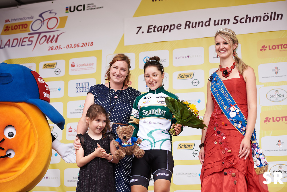 Jacqueline Dietrich (GER) wins the combativity award at Lotto Thuringen Ladies Tour 2018 - Stage 7, an 18.7 km time trial starting and finishing in Schmölln, Germany on June 3, 2018. Photo by Sean Robinson/velofocus.com
