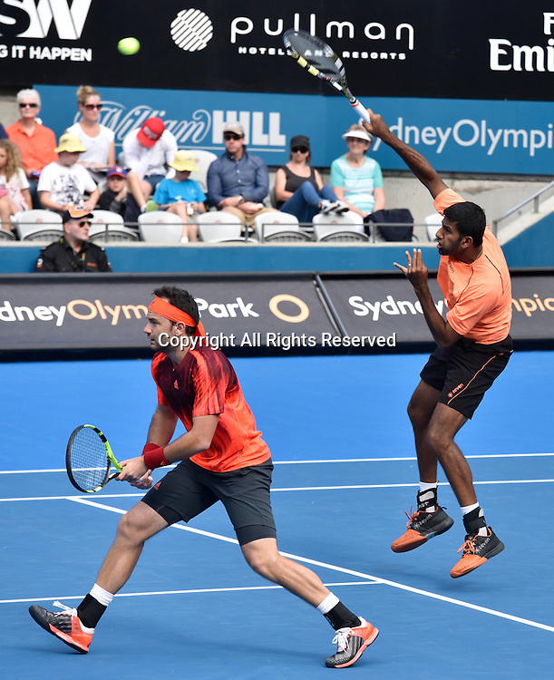 16.01.16 Sydney, Australia. Rohan Bopanna (IND) and Florin Mergea (ROU) in action against  Jamie Murray (GBR) and Bruno Soares (BRA) during their mens doubles final match at the Apia International Sydney. Murray and Soares won the final 6-3,7-6.